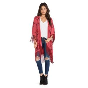 Free People Burgundy Embroidered Kimono w/ Fringe